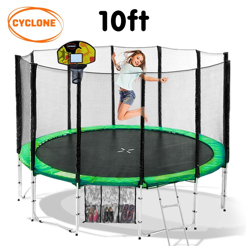 Cyclone 10 ft Springless trampoline with net and basketball set