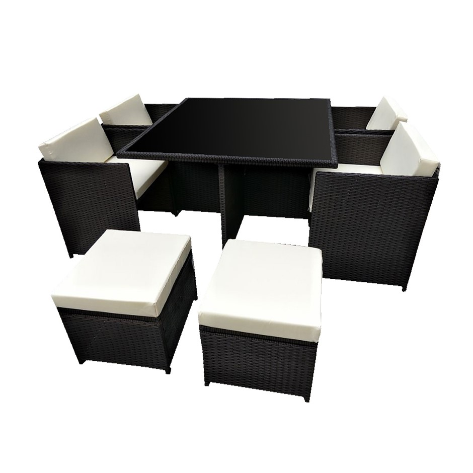 9pc PE Rattan Cube Dining Garden Set - Black