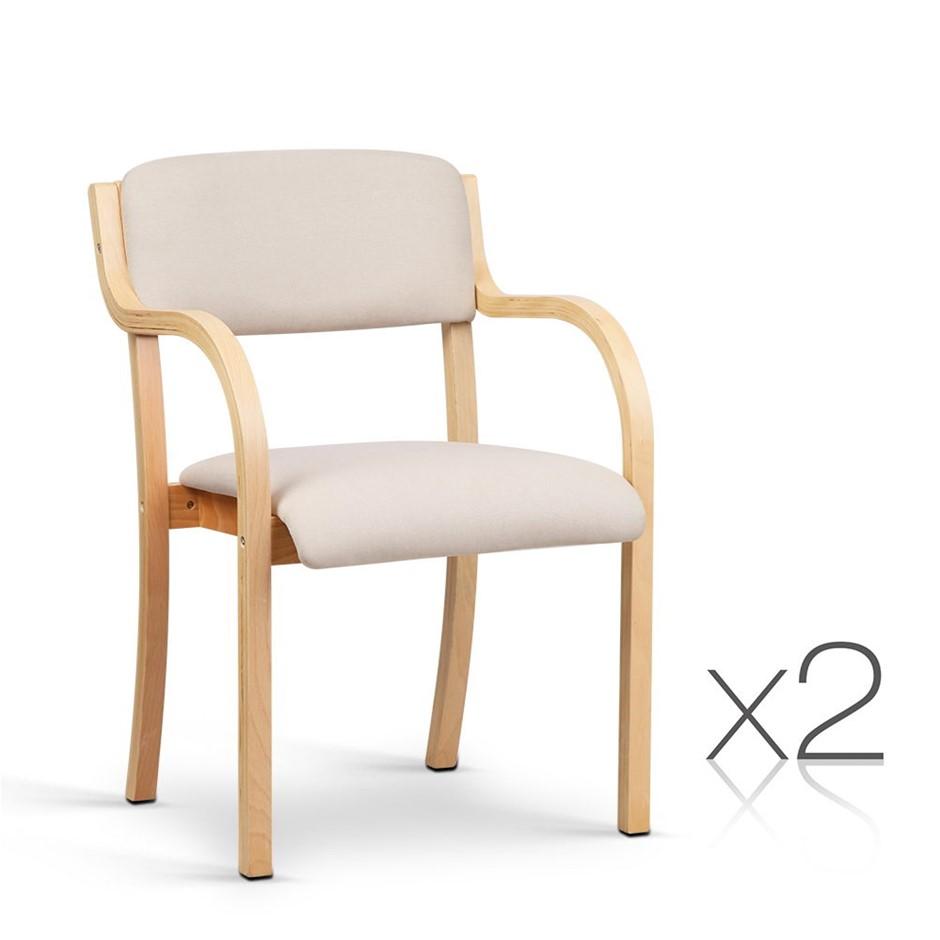 Artiss Set Of 2 Fabric Dining Chair Beige