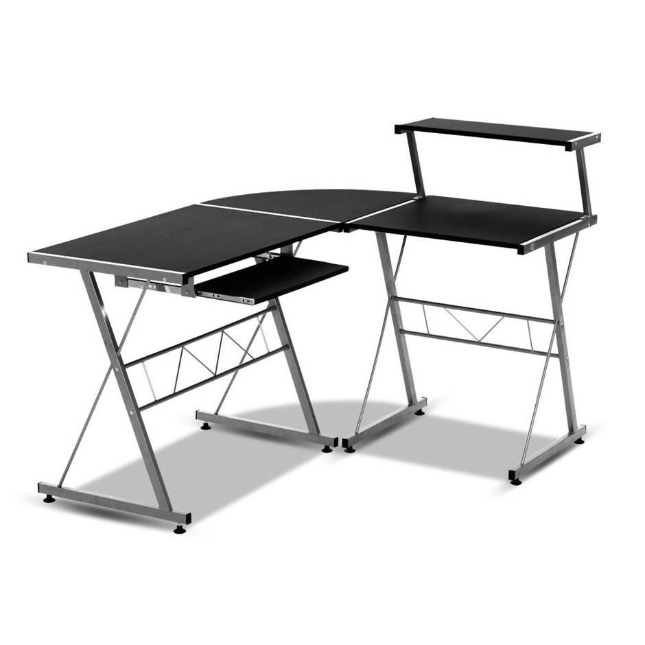 Artiss Corner Metal Pull Out Table Desk Black