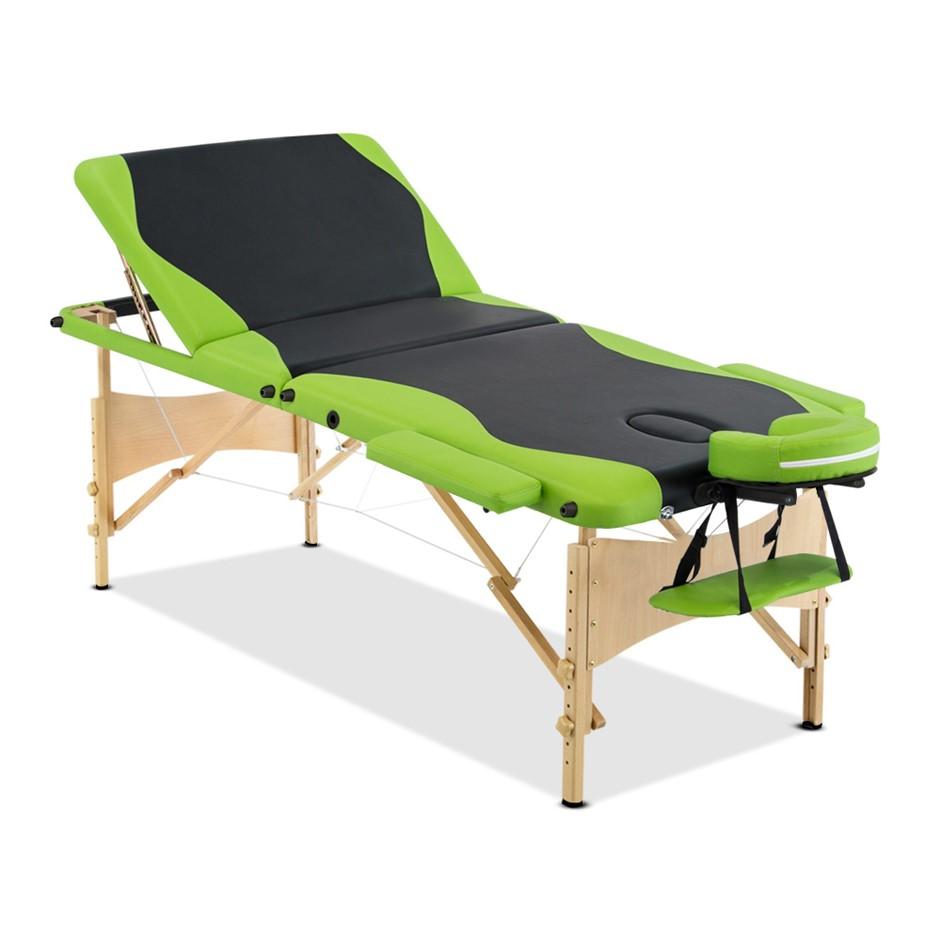 Zenses 3 Fold Portable Wood Massage Table - Black & Lime