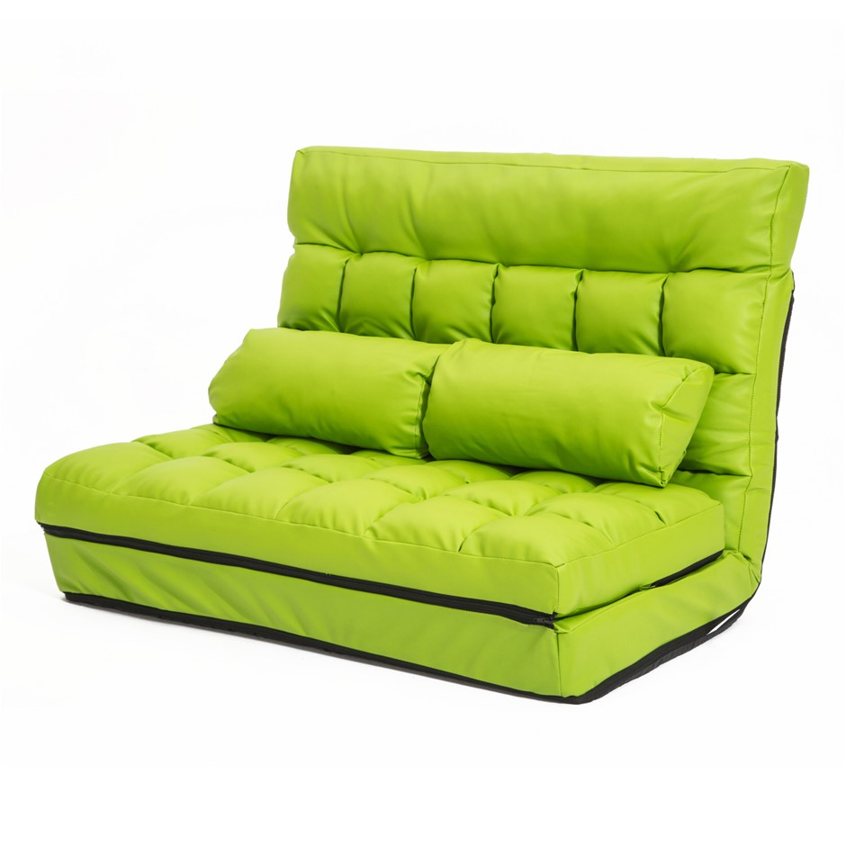 Lounge Sofa Leather Double Bed GEMINI - GREEN