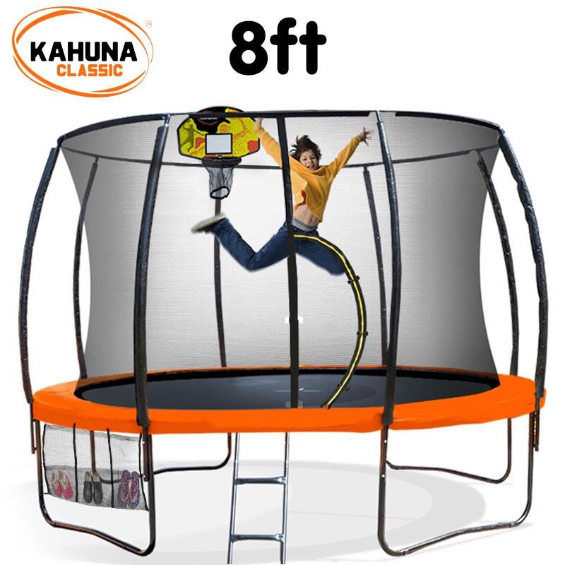 Kahuna Trampoline 8 ft - Orange with Basketball Set