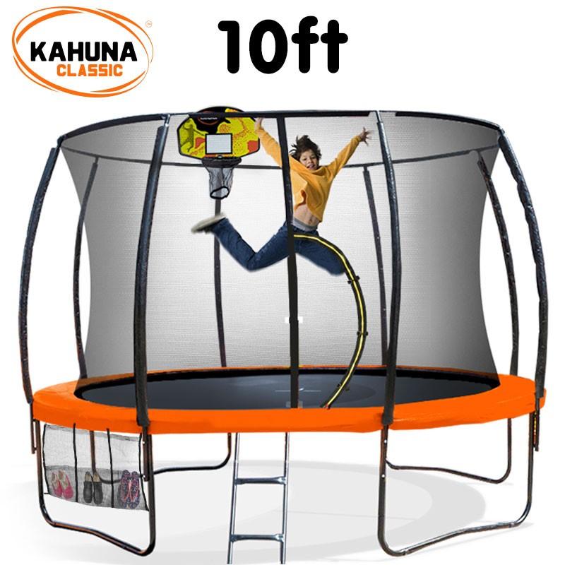 Kahuna Trampoline 10 ft - Orange with Basketball Set