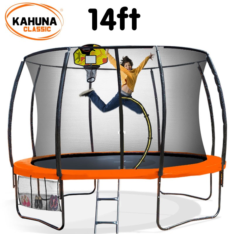 Kahuna Trampoline 14 ft - Orange with Basketball Set
