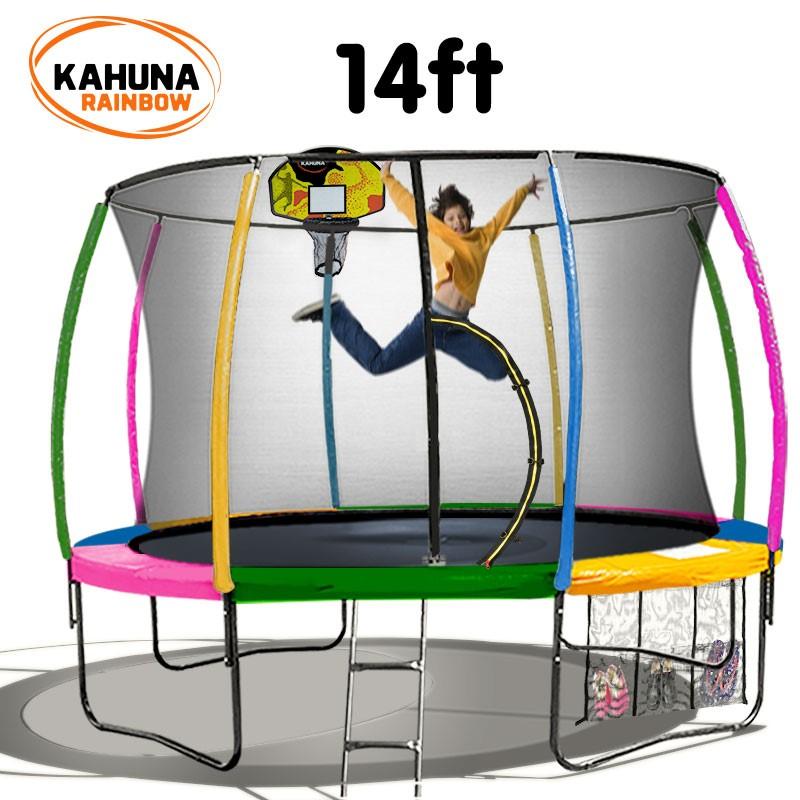 Kahuna Trampoline 14 ft - Rainbow with Basketball Set