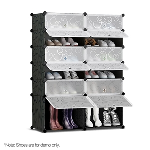 12 Cube Stackable Shoe Rack Storage Cabi