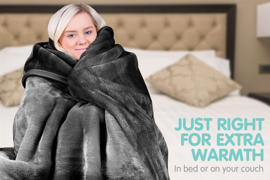 600GSM Double-Sided Queen Faux Mink Blanket - Black