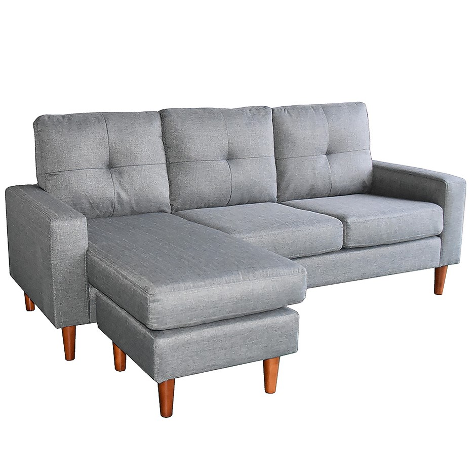 Linen Corner Sofa Couch Lounge Chaise with Wooden Legs - Grey