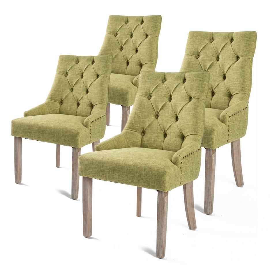 4 x French Provincial Oak Leg Chair AMOUR - GREEN