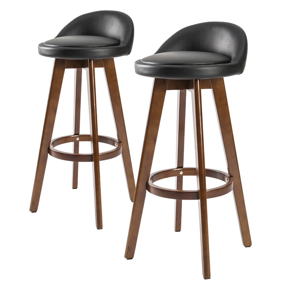 2x Oak Wood Bar Stool 72cm Leather LEILA - BLACK BROWN