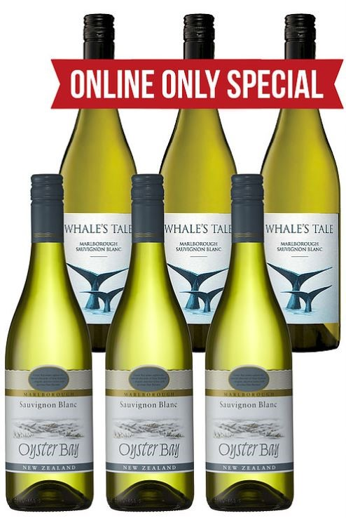 Whales Tale & Oyster Bay Sauvignon Blanc 2019 (6 x 750mL) Mixed Pack