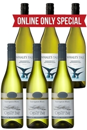 Whales Tale & Oyster Bay Sauvignon Blanc 2018 (6 x 750mL) Mixed Pack