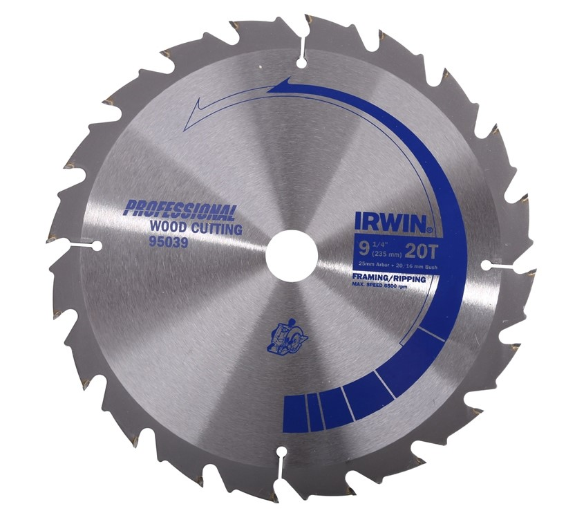 4 x IRWIN 235mm x 20T Circular Wood Cutting Saw Blades. (264504-203)