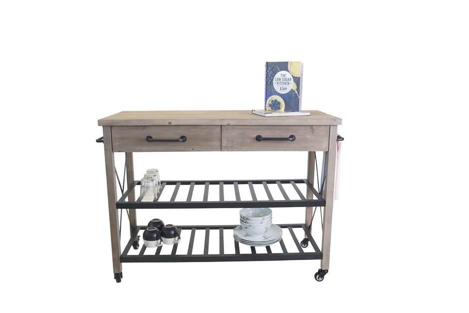 Industrial Style 2 Drawer 2 Shelf Kitchen Trolley