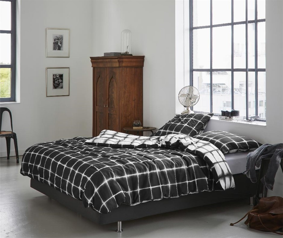 Printed Quilt Cover Set Black/White Check - KING