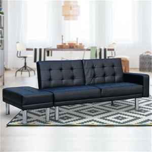 Swell 3 Seater Faux Leather Sofa Bed Couch Futon Suite With Ottoman Black Spiritservingveterans Wood Chair Design Ideas Spiritservingveteransorg