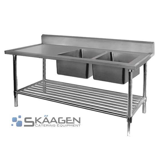 Unused Stainless Steel Sink 1500 x 600 Two (2) bowls - Right position