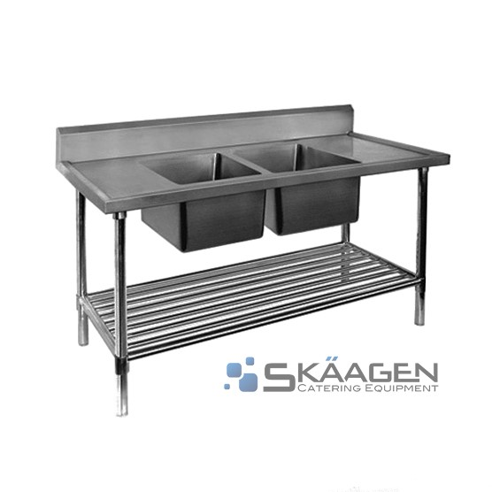 Unused Stainless Steel Sink 1700 x 600 Two (2) bowls - Centre position