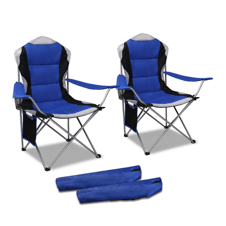 Set of 2 Portable Folding Camping Armchair - Blue