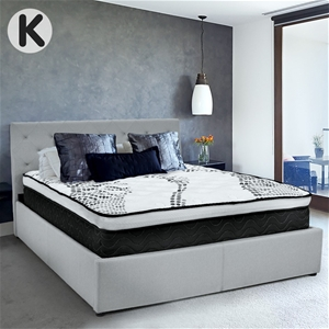 King Fabric Gas Lift Bed Frame with Head