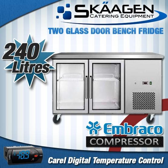 Unused 240L Glass Door Bench Fridge