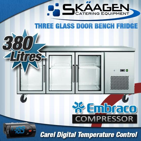 Unused 380L Glass Door Bench Fridge