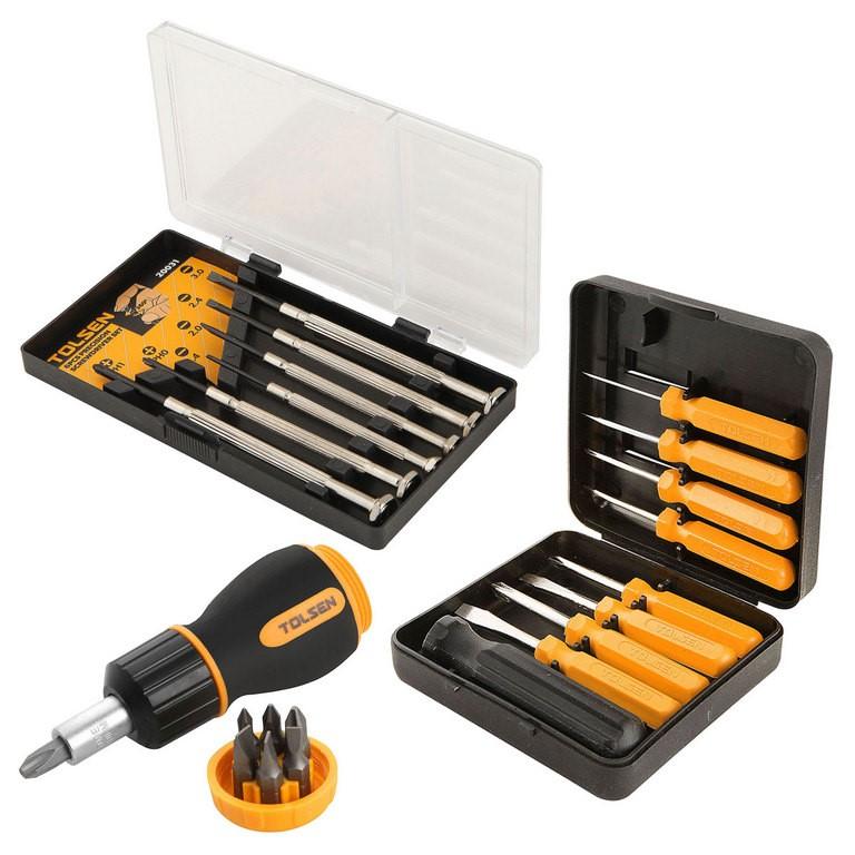 3 x TOLSEN Screwdriver Sets, Comprising; Precision 6pcs, Changeable 9pcs &