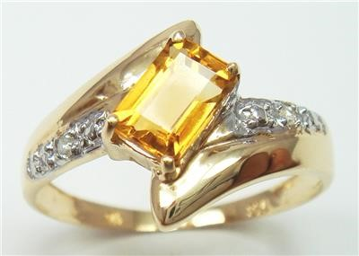 Genuine Diamond & Citrine 9K Yellow Gold Ring.