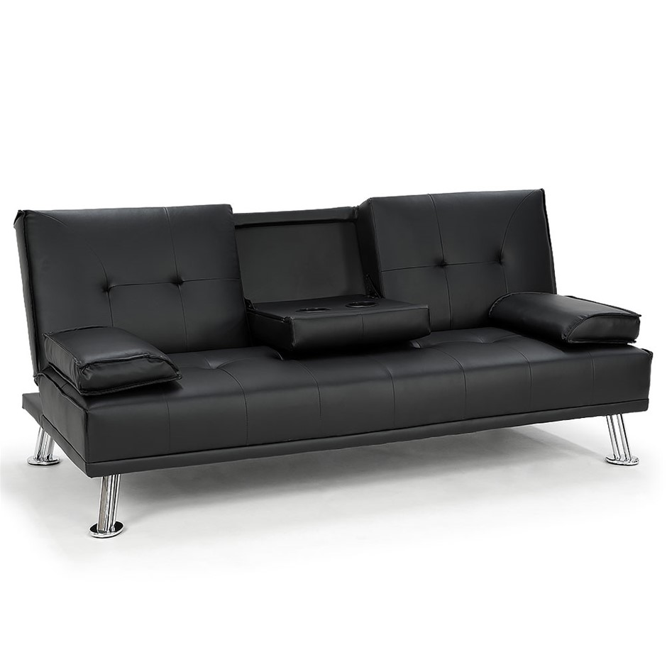 Rochester Faux Leather Sofa Bed Lounge Black