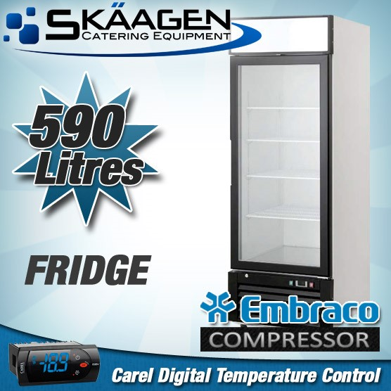 Unused Single Glass Door Display Fridge 590L - BCC01-GL