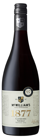 McWilliam's `Flagship 1877` Shiraz 2015 (6 x 750mL), Canberra.