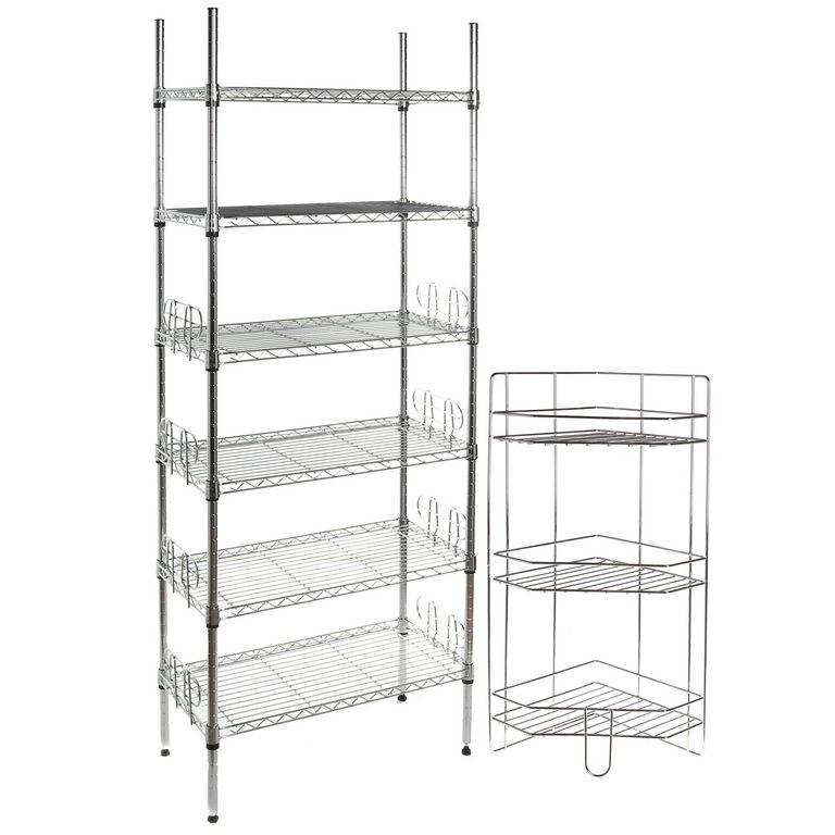 2 x Storage Units, Comprising; 1 x Chrome Mini 6 Tier Book Shelf 29x59x160c