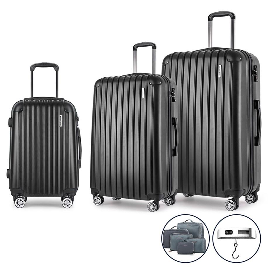 Wanderlite 3 Piece Luggage Suitcase Trolley - Black