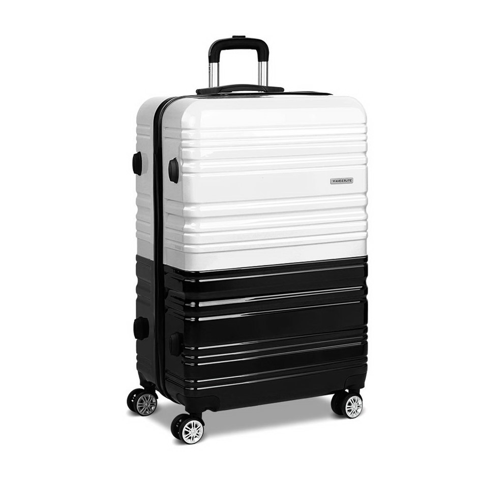 Wanderlite Lightweight Hard Suit Case - Black & White