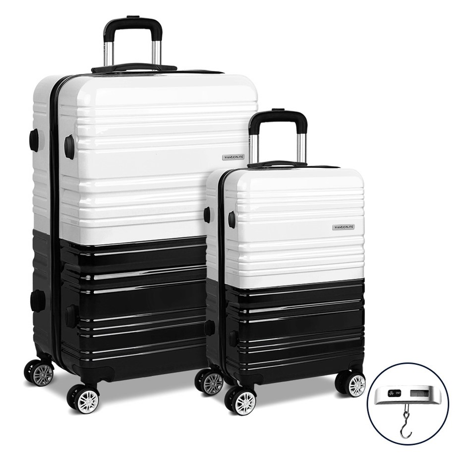 Wanderlite 2 Piece Lightweight Hard Suit Case - Black & White