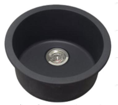 Single Bowl, Black Granite Quartz Stone Kitchen Sink (Round Edges)