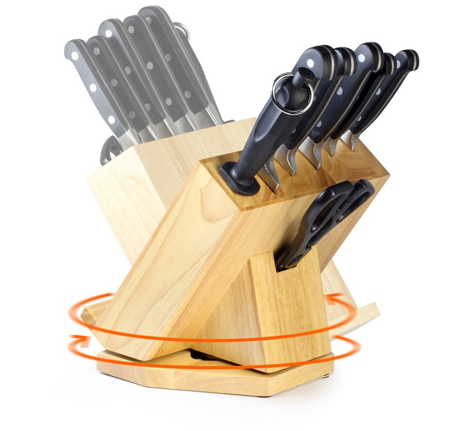 Premium 8pcs SS Rotating Knife Block Set Knives Chef Sharpener Hold