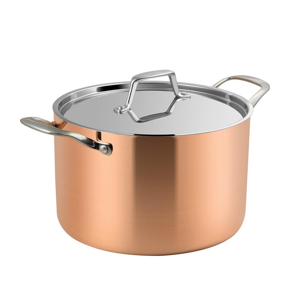 Lassani Tri-Ply Copper 24cm Casserole Stock Pot Lid Cookware Induction SS