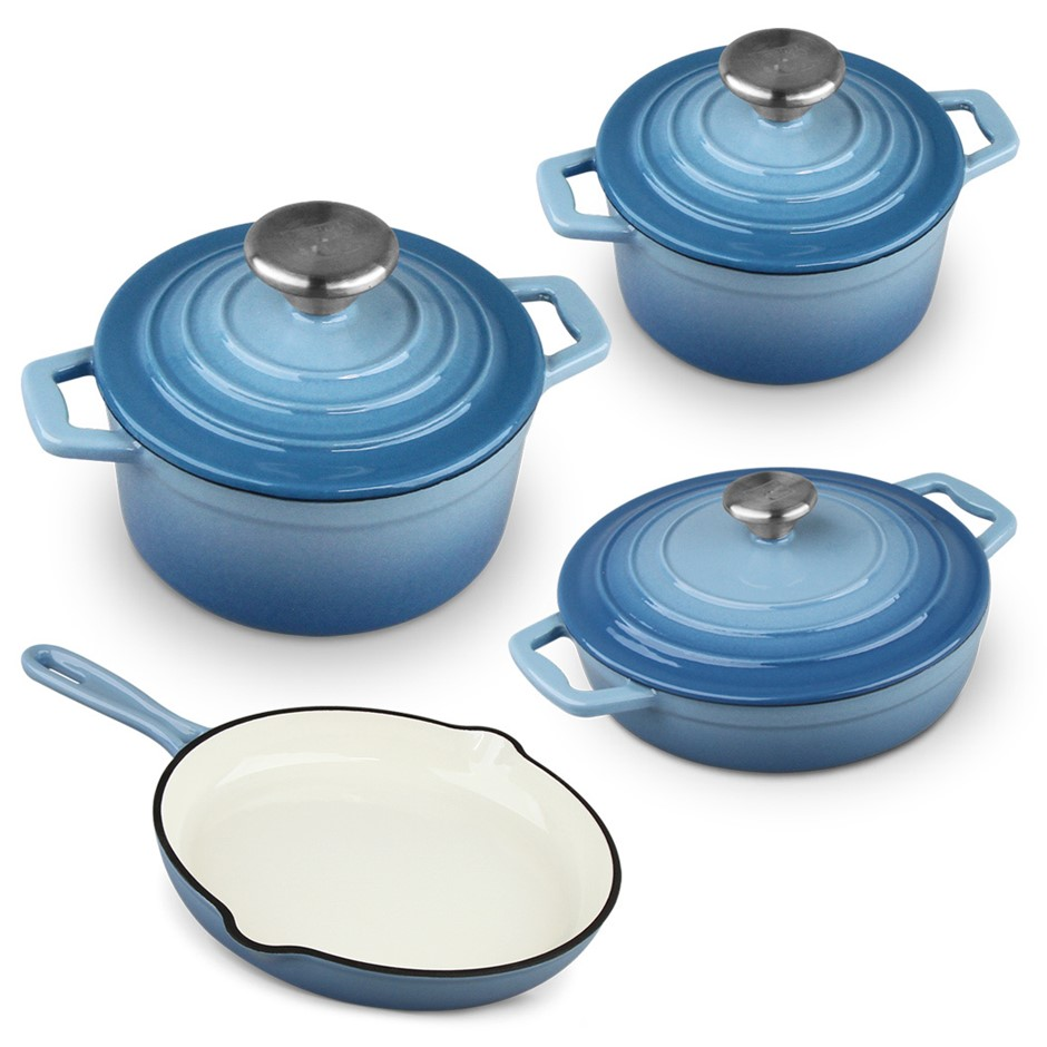 Xanten 7pc Cast Iron Cookware Set Frying Pan