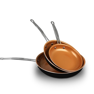 3pcs Ceramic Copper Non-Stick Frying Pan