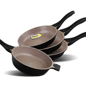 K2 4pc Ceramic Stone Deep Frypans Cookwa