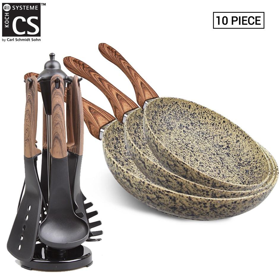 Steinfurt Marble Stone Beige Ceramic Frying Pan