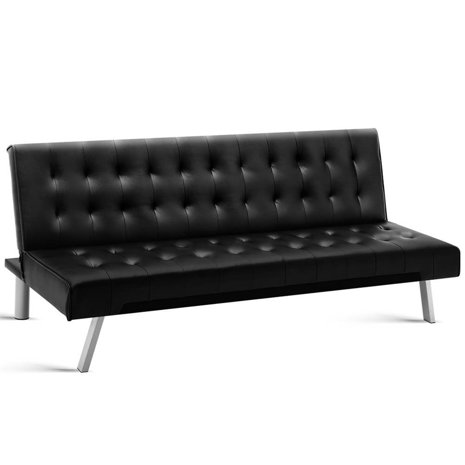 Artiss 3 Seater Leather Sofa Bed Black