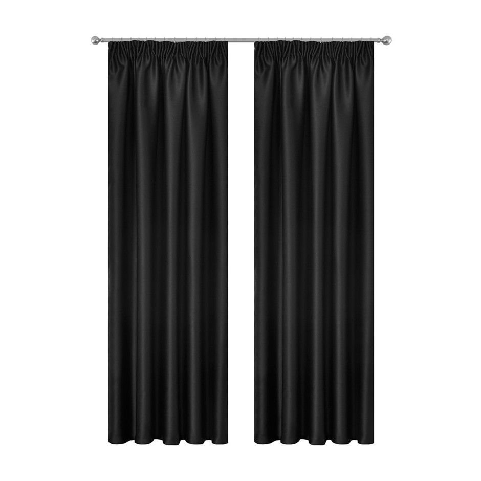 Art Queen 2 Pencil Pleat 180x213cm Blockout Curtains - Black