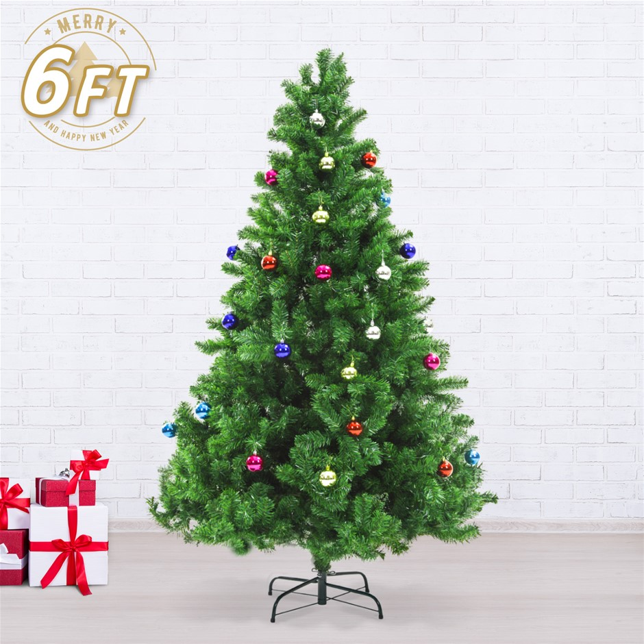 6ft 180cm green xmas tree baubles - Christmas Decorations Australia