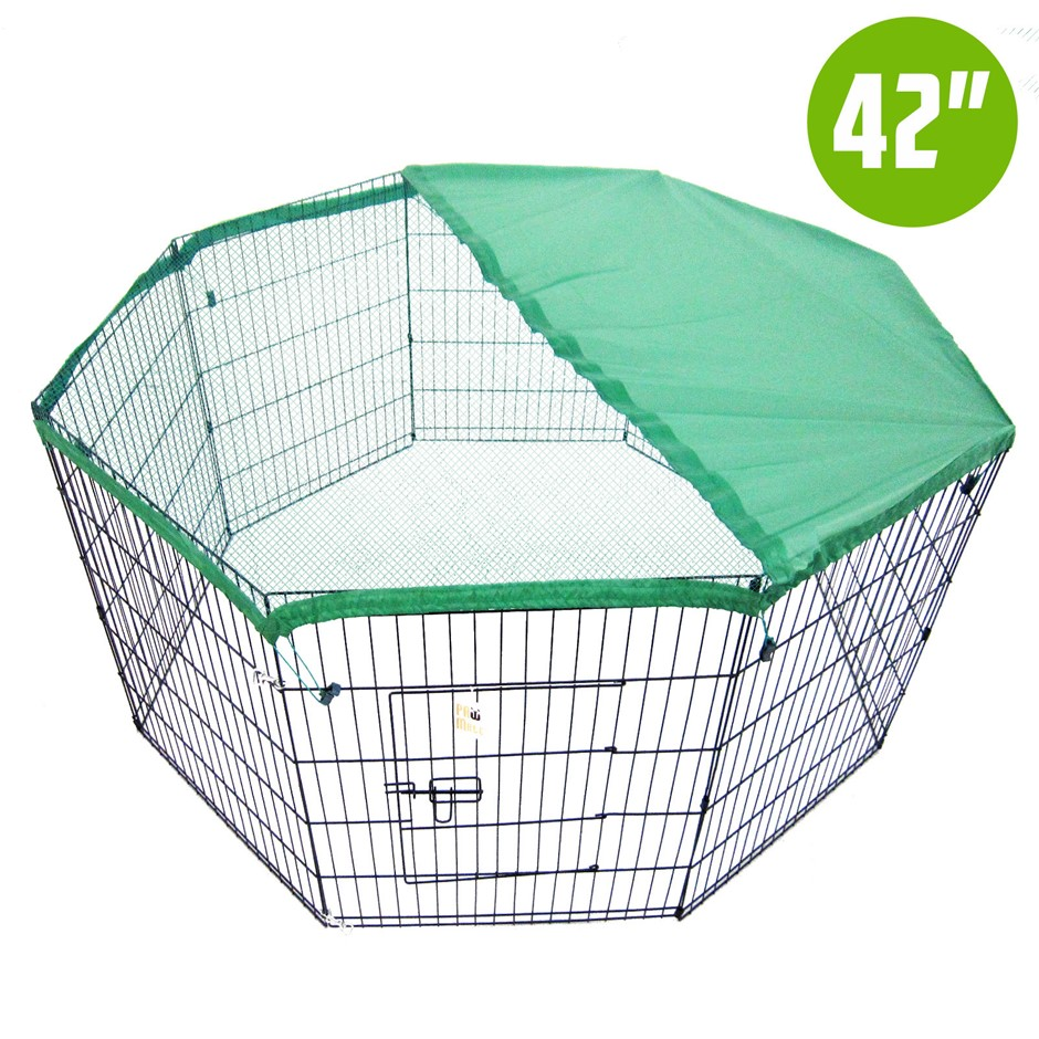 "8 Panel Foldable Pet Playpen 42"" w/ Cover - GREEN"