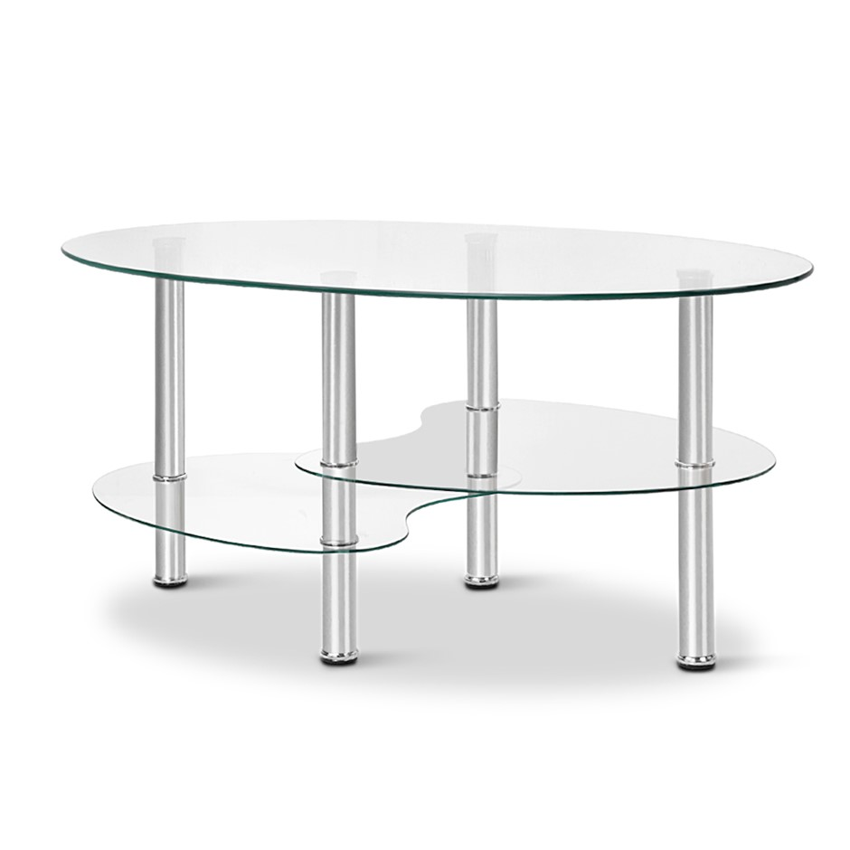 Artiss 3 Tier Coffee Table Glass