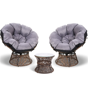 Garden Papasan Chair and Side Table Set-