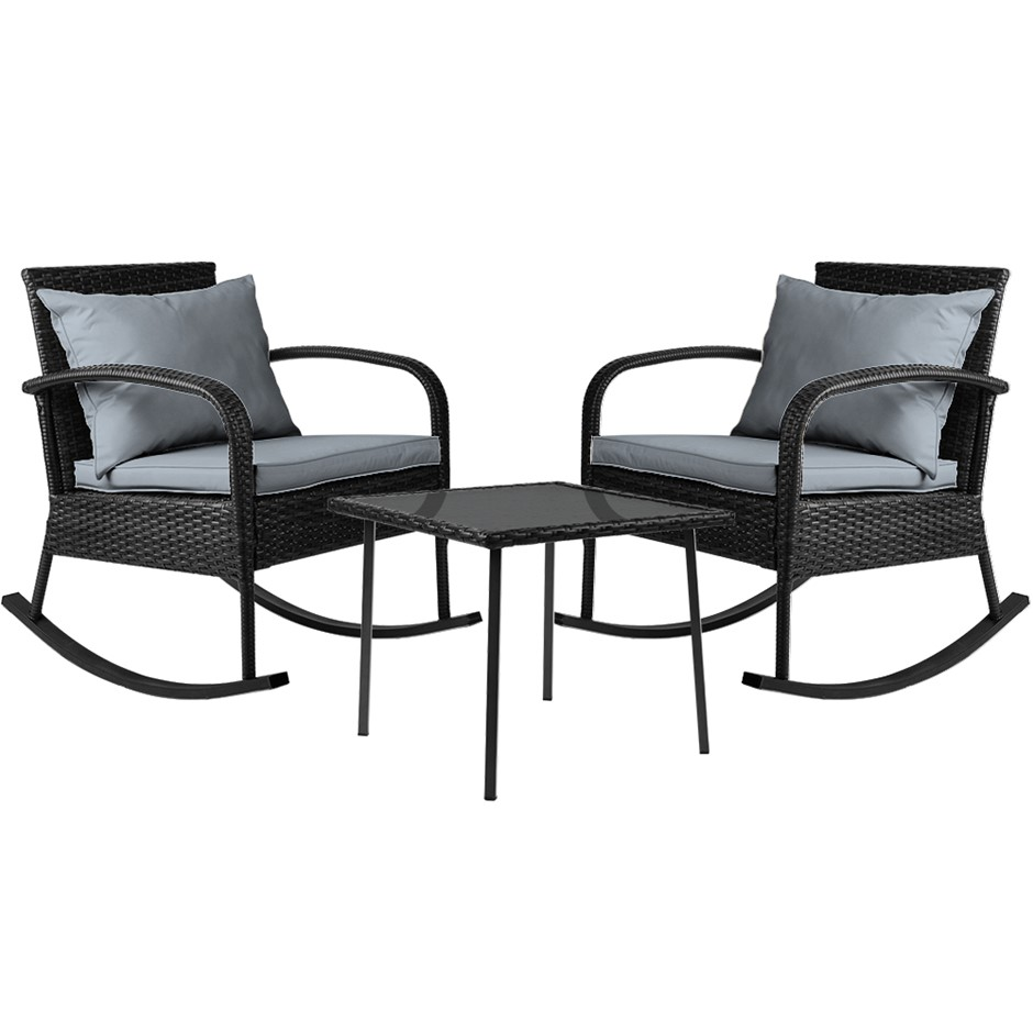 Gardeon 3 Piece Outdoor Rocking Chair Set - Black